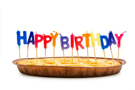Happy birthday candles in the pie Stock Photo - 5222062
