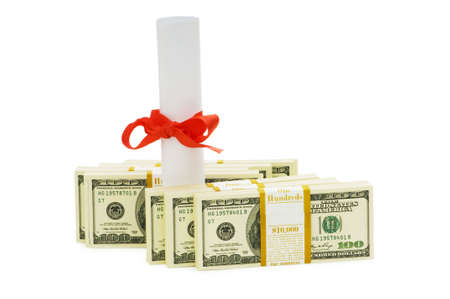 Concept of expensive education - dollars and diploma Stock Photo - 5314295