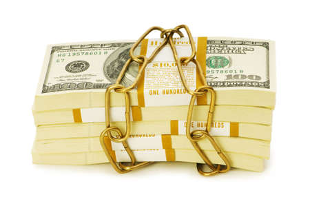 Financial security concept - padlock and dollars on white photo