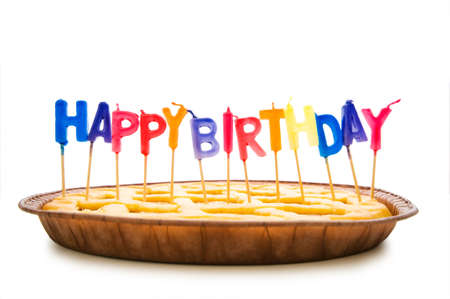 Happy birthday candles in the pie photo