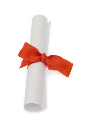 Diploma with red ribbon isolated on white Stock Photo - 5314299