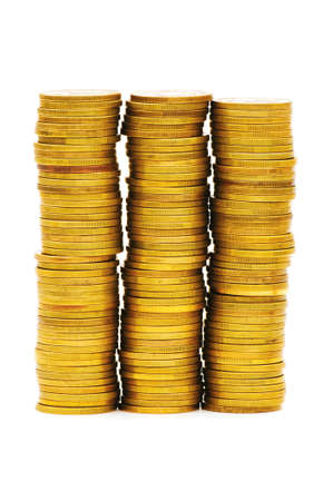 monies: Stack of coins isolated on the white