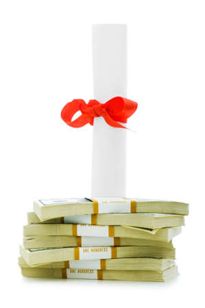 Concept of expensive education - dollars and diploma Stock Photo - 5348963