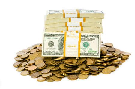 gotówka: Dolary i monety izolowana na białym tle Zdjęcie Seryjne