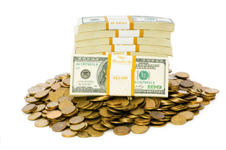 stack of cash: Dollars and coins isolated on the white background Stock Photo