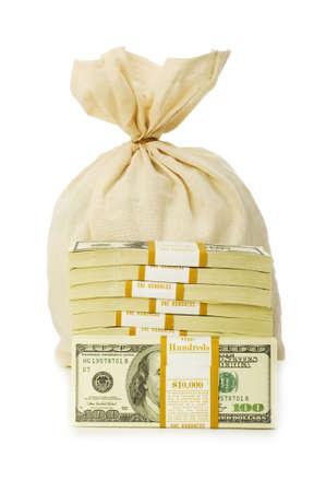 Sacks of money isolated on the white photo
