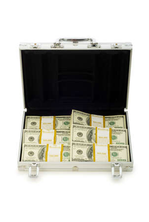 Metal case and lots of dollars on white Stock Photo - 5348951