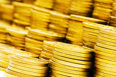 monies: Stack of coins - shallow depth of field Stock Photo