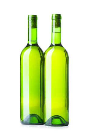 Wine bottles isolated on the white photo