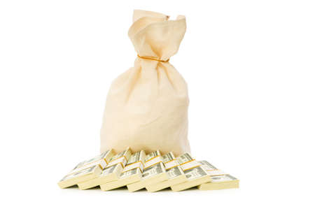 Sacks of money isolated on the white photo