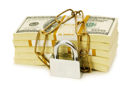 monies: Financial security concept - padlock and dollars on white Stock Photo