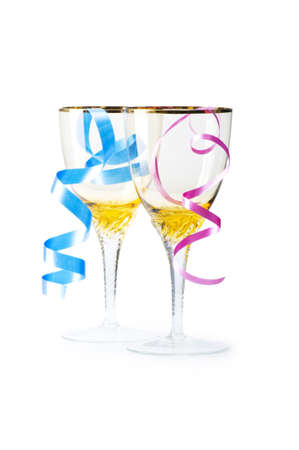 Bottle of wine and glass with streamer on white Stock Photo - 5397965