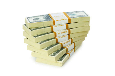 Stack of dollars isolated on the white Stock Photo