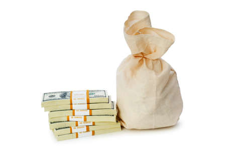 Sacks of money isolated on the white Stock Photo - 5436465