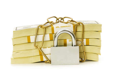 Financial security concept - padlock and dollars on white Stock Photo - 5436520