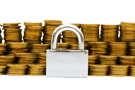 Padlock and coins isolated on white Stock Photo - 5436498