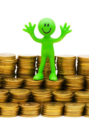 tabassum: Smiley and coins isolated on the white Stock Photo