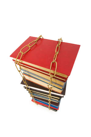 Censorship concept with books and chains on white Stock Photo - 5510290