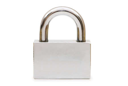 Silver padlock isolated on the white background Stock Photo - 5509565