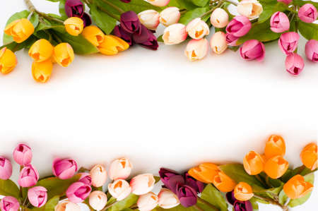 Frame made of colourful tulips photo