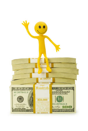tabassum: Smilie sitting on top of dollar stack