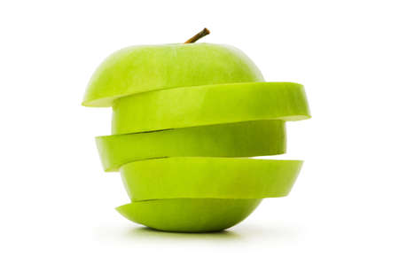 Sliced green apple isolated on white Stock Photo - 5718434