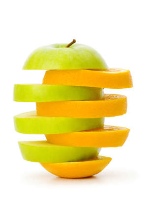 Sliced orange and apple isolated on the white Stock Photo - 5718203