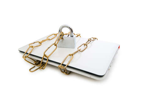 Concept of computer security with laptop and chain Stock Photo - 5718243