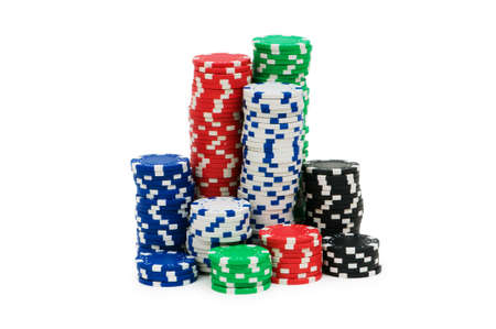 Casino chips isolated on the white Stock Photo - 5778489