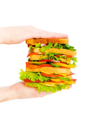 Hand holding sandwich isolated on the white background  photo