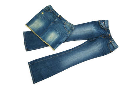 Pair of jeans isolated on the white background photo