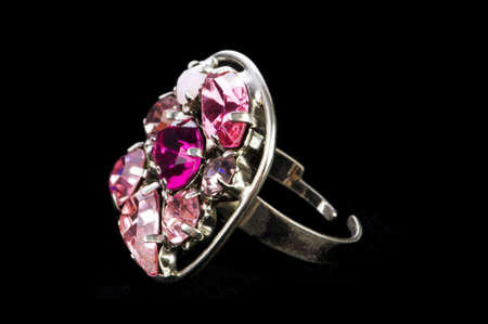 Jewellery ring isolated on the black background photo
