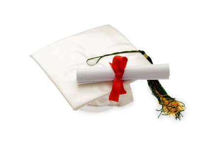 tassels: Graduation cap and diploma isolated on white Stock Photo