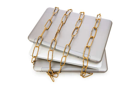 Concept of computer security with laptop and chain Stock Photo - 5778323