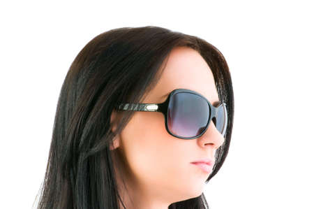 Young girl with sunglasses isolated on white photo
