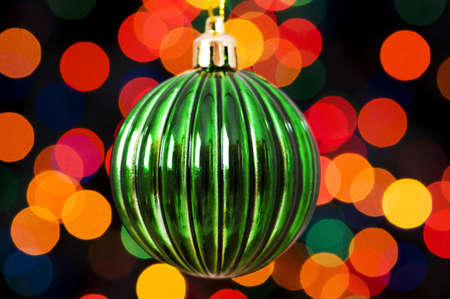 Christmas decoration and blurred lights at background photo