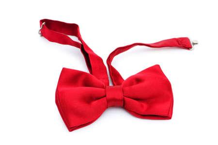 lazo de regalo: Lazo rojo empate aislados en el blanco Foto de archivo