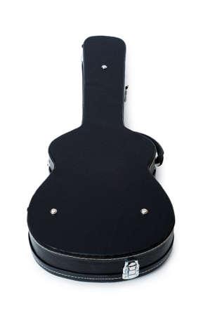 guitar case: Caso de Guitarra negra aislado en el blanco  Foto de archivo
