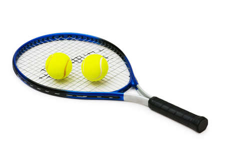 tennis racquet: Two tennis balls and racquet isolated on white