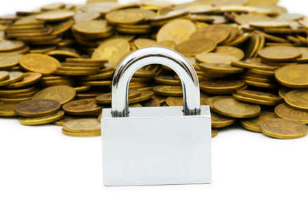 Concept of financial security with lock and coins Stock Photo - 5812386