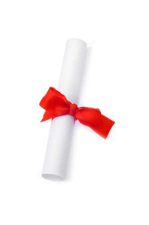 Diploma with red ribbon isolated on white Stock Photo - 5812222