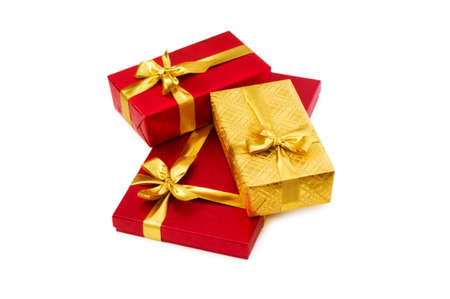 Gift boxes isolated on the white background photo