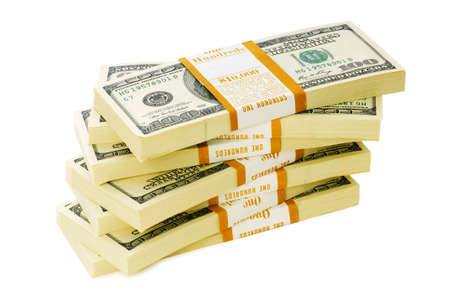 pay cuts: Stack of dollars isolated on the white Stock Photo