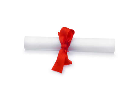 Diploma with red ribbon isolated on white Stock Photo - 5922746