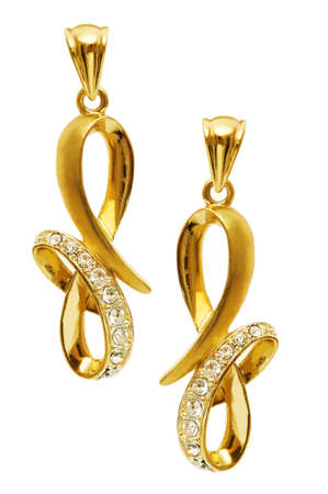 earring: Pair of earrings isolated on the white background Stock Photo