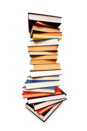 Stack of books isolated on the white photo