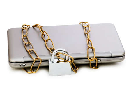 information medium: Concept of computer security with laptop and chain