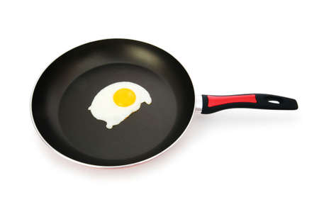 Frying pam with fried egg isolated on white Stock Photo - 5962923