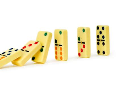 Colourful dominoes isolated on the white photo