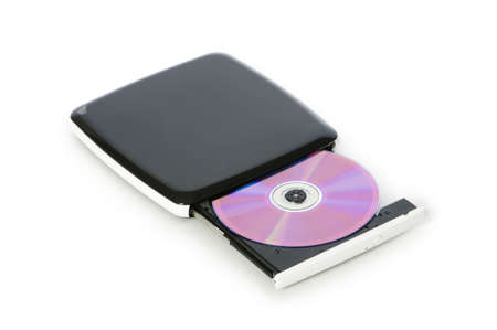 optical disk: External dvd drive isolated on the white Stock Photo